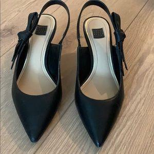 WHBM sling black kitten heels
